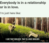 That Is A Nice Boulder: Everybody is in a relationship  or is in love.  I'm just here like:  ILIKE THAT BOULDER. THAT IS A NICE BOULDER.