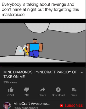 Oh yeah that's hot: Everybody is talking about revenge and  don't mine at night but they forgetting this  masterpiece  MINE DIAMONDS MINECRAFT PARODY OF  TAKE ON ME  33M views  E+  872K  71K  Share  Download  Save  MineCraft Awesome...  SUBSCRIBE  596K subscribers Oh yeah that's hot