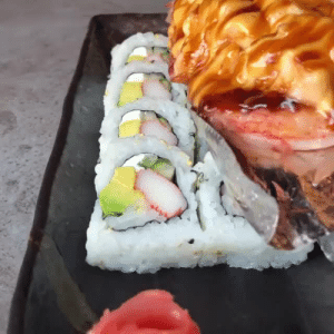 Baked, Instagram, and Tumblr: everybody-loves-to-eat:    VOLCANO ROLL from @sukhothaimb: sushi roll filled with avocado, crab and cream cheese topped with freshly baked crab salad, salmon, spicy mayo, and eel sauce.   (source)