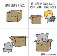 Square, Comics, and Box: EVERYBODY ONLY CARES  I HATE BEING A BOX ABOUT WHAT I HAVE INSIDE  THESQUARECOMICS source: The Square Comics