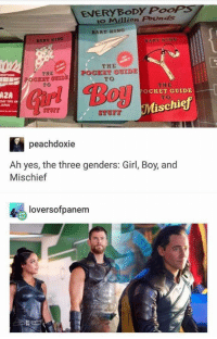 """Memes, Bart, and Girl: EVERYBoDy PooPS  o Million Pounds  BART RING  THE  POCKET OUIDE  TO  THE  TO  AZA  OCKET GUIDE  DAY TIPS A  JAPAN  TO  schiej  peachdoxie  Ah yes, the three genders: Girl, Boy, and  Mischief  令., loversofpanem <p>Coincidence, I think not! via /r/memes <a href=""""http://ift.tt/2IpvoTZ"""">http://ift.tt/2IpvoTZ</a></p>"""