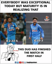 #YuzvendraChahal #KuldeepYadav #IndVsSA: EVERYBODY  WAS EXCEPTIONAL  TODAY BUT MATURITY IS IN  REALIZING THAT  LAUGHING  Sta  NOIA  8.2-22-5  6-20-3  THIS DUO HAS FINISHED  THE MATCH IN  FIRST HAL  True Story #YuzvendraChahal #KuldeepYadav #IndVsSA