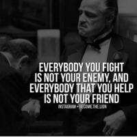 Memes, Lion, and Lions: EVERYBODY YOU FIGHT  IS NOT YOUR ENEMY AND  EVERYBODY THAT YOU HELP  IS NOT YOUR FRIEND  INSTAGRAM. BECOMETHELION Things put into perspective! @become.the.lion 👈👌🔥 TAG YOUR FRIENDS.👇