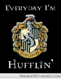 """Memes, Slytherin, and Best: EVERYDAY IM  HUFFLE  HUFFLIN  MUGGLENET MEMES.COM <p>I&rsquo;m not brave enough to be a Griffindor and I&rsquo;m not smart enough to be a Ravenclaw. I try my best to be a good, loyal Hufflepuff but when I&rsquo;m grumpy I&rsquo;m a total Slytherin. So, quite literally&hellip; <a href=""""http://ift.tt/1oPFu3N"""">http://ift.tt/1oPFu3N</a></p>"""