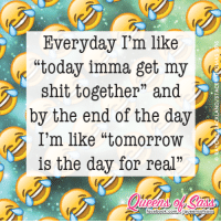 """Definitely tomorrow tho #QueensofSass: Everyday I'm like  """"today imma get my  shit together"""" and  by the end of the day  I'm like """"tomorrow  is the day for real""""  facebool  k com Definitely tomorrow tho #QueensofSass"""