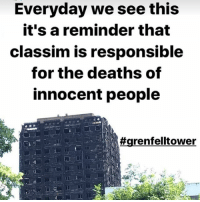 I was there yesterday for a multi faith remembrance ceremony-sharing. I was crying, it's really sad and the people therealcommunity have to be prepared for the long legal battle to get justice for the victims and families. When I look at the establishment who are responsible for this, I see humans but no humanity... grenfelltower: Everyday we see this  it's a reminder that  classim is responsible  for the deaths of  innocent people  I was there yesterday for a multi faith remembrance ceremony-sharing. I was crying, it's really sad and the people therealcommunity have to be prepared for the long legal battle to get justice for the victims and families. When I look at the establishment who are responsible for this, I see humans but no humanity... grenfelltower