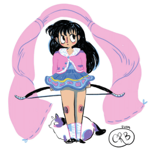 everydayanimefashions:  Kagome, from Rumiko Takahashi's InuYasha!Poor Kagome doesn't get many costume changes, but at the end of Vol. 1 she puts on this cute casual outfit before having to jump right back down the well again. Accessorized with Buyo the cat, a bow, & Inuyasha's shirt.: everydayanimefashions:  Kagome, from Rumiko Takahashi's InuYasha!Poor Kagome doesn't get many costume changes, but at the end of Vol. 1 she puts on this cute casual outfit before having to jump right back down the well again. Accessorized with Buyo the cat, a bow, & Inuyasha's shirt.