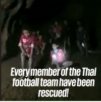 Dank, Football, and News: Everymember of the Thai  football team have been  rescued! The news the whole world has been hoping for! What a magnificent effort by all involved! 🙌🙌