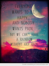Cant Have A: EVERYON  WANTS TO BE  HAPPY..  AND NOBODy  WANTS PAIN  BUT WE CAN'T HAVE  A RAINBOW  WITHOUT ANy RAIN