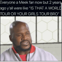 """Facts, Funny, and Girls: Everyone a Meek fan now but 2 years  ago y'all were like """"IS THAT A WORLD  TOUR OR YOUR GIRLS TOUR BRO"""" Facts or naw 😂😫😫😫 meekmill dreamchasers 😩😩😩"""