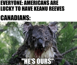 """I only found out he was Canadian yesterday: EVERYONE: AMERICANS ARE  LUCKY TO HAVE KEANU REEVES  CANADIANS:  """"HE'S OURS  imgflip.com I only found out he was Canadian yesterday"""