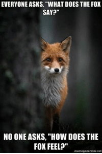 """-Tbone: EVERYONE ASKS, """"WHAT DOES THE FOX  SAY?""""  NO ONE ASKS, """"How DOES THE  FOX FEEL?""""  memegenerator.net -Tbone"""