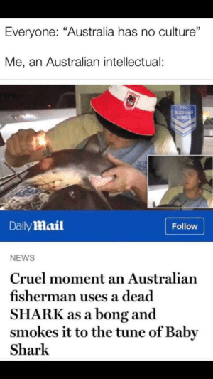 "News, Shark, and Australia: Everyone: ""Australia has no culture""  Me, an Australian intellectual:  NRL  SLEDGING  REBELS  DailyMail  Follow  NEWS  Cruel moment an Australian  fisherman uses a dead  SHARK as a bong and  smokes it to the tune of Baby  Shark me irl"