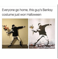 Halloween, Memes, and Home: Everyone go home, this guy's Banksy  costume just won Halloween Doubletap it's on point follow @awkwardgoogle for more and comment done for a follow back