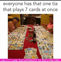 """Memes, 🤖, and Tia: everyone has that one tia  that plays 7 cards at once  Use LYFT code ''EsPuroPedo323"""" for $50 in free rides 😂😂😂 Espuropedo"""