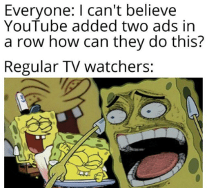 youtube.com, How, and Can: Everyone: I can't believe  YouTube added two ads in  a row how can they do this?  Regular TV watchers: Ads