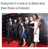 When you're the best rapper of all time people dress up to be in your presence: Everyone in a suit or a dress and  then there is Eminem  SOU When you're the best rapper of all time people dress up to be in your presence