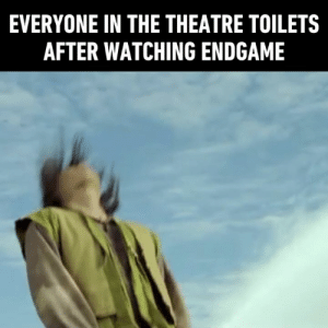 Some of you never watch LOTR in theatre and it shows.: EVERYONE IN THE THEATRE TOILETS  AFTER WATCHING ENDGAME Some of you never watch LOTR in theatre and it shows.