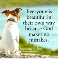Beautiful, God, and Memes: Everyone is  beautiful in  their own way  because God  makes no  mistakes  Awesome Quotes  www. Awesome quotes4u.com <3