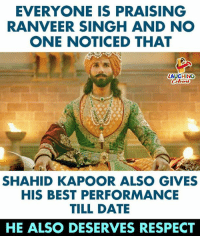 #ShahidKapoor #RanveerSingh #Padmavati: EVERYONE IS PRAISING  RANVEER SINGH AND NO  ONE NOTICED THAT  LAUGHING  SHAHID KAPOOR ALSO GIVES  HIS BEST PERFORMANCE  TILL DATE  HE ALSO DESERVES RESPECT #ShahidKapoor #RanveerSingh #Padmavati