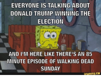 Donald Trump, Memes, and Trump: EVERYONE IS TALKING ABOUT  DONALD TRUMP WINNING THE  ELECTION  AND IIM HERE LIKE THEREIS AN 85  MINUTE EPISODE OF WALKING DEAD  SUNDAY  ifunny.CO This Sunday #TWD #TWDFamily #TheWalkingDead #TWDSeason7 #PresidentialElection2016
