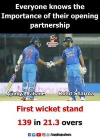 rohit sharma: Everyone knows the  Importance of their opening  partnership  Rohit Sharma  AInKva Ranane  First wicket stand  139 in 21.3 overs  R男。回棽/laughingcolours