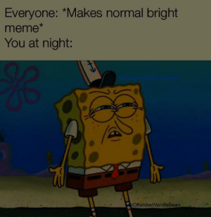 Your eyes can thank me later. by OffendedVanillaBean MORE MEMES: Everyone: *Makes normal bright  meme  You at night:  OffendedVanillaBean Your eyes can thank me later. by OffendedVanillaBean MORE MEMES