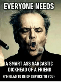 sarcastic memes: EVERYONE NEEDS  A SMART ASS SARCASTIC  DICKHEAD OF A FRIEND  (I'M GLAD TO BE OF SERVICE TO YOU)
