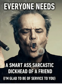 sarcastic memes: EVERYONE NEEDS  A SMART ASS SARCASTIC  DICKHEAD OF A FRIEND  (ITM GLAD TO BE OF SERVICE TO YOU)