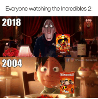 via: Disnerds: Everyone watching the Incredibles 2:  2018  TI  O/ProudDisnerds  2004  THE INCREDIBLES via: Disnerds