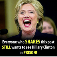 Memes, 🤖, and Big Pharma: Everyone who SHARES this post  STILL wants to see Hillary Clinton  in PRISON! Do you still think Hillary Clinton should go to prison for her crimes?  There Is PANIC In The Diabetes Industry! Big Pharma executives can't believe their eyes. SEE WHY CLICK HERE ►► http://u-read.org/no-diabetes