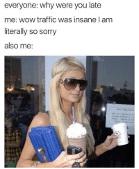 Sorry, Traffic, and Wow: everyone: why were you late  me: wow traffic was insane l am  literally so sorry  also me