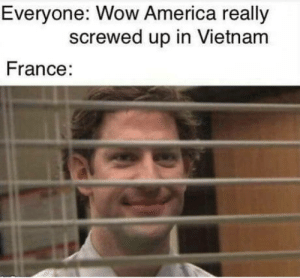 America, Wow, and France: Everyone: Wow America really  screwed up in Vietnam  France Damn rice Farmers