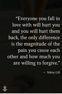 "Fall, Love, and Pain: ""Everyone you fall in  love with will hurt you  and you will hurt them  back, the only difference  is the magnitude of the  pain you cause each  other and how much you  are willing to forgive.""  -Nikita Gill  ELATIONH  ILES"