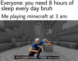 Bruh, Minecraft, and Relatable: Everyone: you need 8 hours of  sleep every day bruh  Me playing minecraft at 3 am:  I don't need sleep. I need diamonds Very relatable