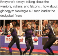 Everyone's always talking about the  warriors, Indians, and falcons... how about  globogym blowing a 4-1 man lead in the  dodgeball finals  @NBAMEMES  com Never forget. ... warriors falcons indians nba nfl mlb meme memes funny dodgeball nbamemes