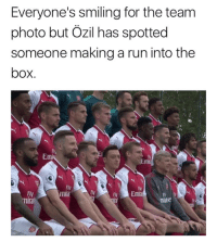 Memes, Run, and 🤖: Everyone's smiling for the team  photo but Ozil has spotted  someone making a run into the  box.  fly  Emi  Fly  nua  Ty  Fly  mira  FN  mite Assist King 😂👀
