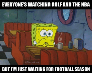Football, Nba, and Nfl: EVERYONE'S WATCHING GOLF AND THE NBA  uo  @GhettoGronk  BUT I'M JUST WAITING FOR FOOTBALL SEASO
