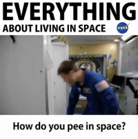 Food, Life, and Memes: EVERYTHING  ABOUT LIVING IN SPACE  NASA  How do you pee in space? In only one-minute, you can find out what it's really like to live on the International Space Station—if you also have NASA astronaut Reid Wiseman, who spent 165 days in space in 2014. Listen as Wiseman answers the questions you would ask about real life in zero g: how big is the space station, is it very hot or cold there, was the food any good, did you prank-call anyone from orbit, and many more. Credit: NASA nasa space iss spacestation astronauts Repost @nasa ・・・