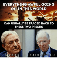 Memes, World, and Back: EVERYTHING AWFUL GOING  ON IN THIS WORLD  CAN USUALLY BE TRACED BACK TO  THESE TWO PRICKS  SOROS  R OTH SAC HELD soros rothschild