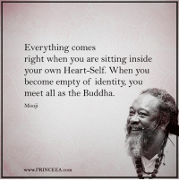 Memes, Buddha, and Heart: Everything comes  right when you are sitting inside  your own Heart-Self  When you  become empty of identity, you  meet all as the Buddha.  Mooli  www.PRINCEEA.com Think about it, if you stop wanting so much your happiness will be right in front of you. Motivation Inspire Positive Greatness PrinceEa Gratefulness Liveinthemoment