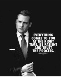 Trust the process! - - Process business paitence: EVERYTHING  COMES TO YOU  AT THE RIGHT  TIME. BE PATIENT  AND TRUST  THE PROCESS.  @SUCCESSES Trust the process! - - Process business paitence