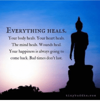 Bad, Memes, and Heart: EVERYTHING HEALs.  Your body heals. Your heart heals.  The mind heals. Wounds heal  Your happiness is always going to  come back. Bad times don't last.  tiny b u d dh a c o m This too shall pass 🙏🏻
