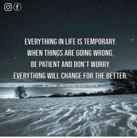 Instagram, Life, and Memes: EVERYTHING IN LIFE IS TEMPORARY  WHEN THINGS ARE GOING WRONG  BE PATIENT AND DON'T WORRY  EVERYTHING WILL CHANGE FOR THE BETTER  INSTAGRAM | MOTIVATION-SUCCESS-PORTA GoodNight 🌙