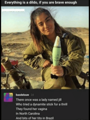 Crazy, Dank, and Dildo: Everything is a dildo, if you are brave enough  basdelouw  2d  There once was a lady named jill  Who tried a dynamite stick for a thrill  They found her vagina  In North Carolina  And bits of her tits in Brazil This girl is crazy by AnalSeeds_19-1-19 MORE MEMES