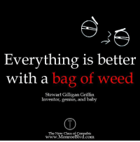 Weed, Genius, and Cannabis: Everything is better  with a  bag of weed  Stewart Gilligan Griffin  Inventor, genius, and baby  The New Class of Cannabis  www.MonroeBlvd.com #marijuanamemes