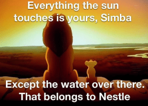 Water, Nestle, and Sun: Everything the sun  touches is yours, Simba  Except the water over there.  That belongs to Nestle Nestle stole the water.