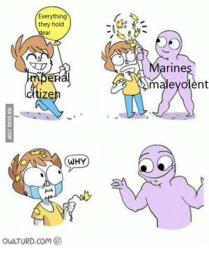 9gag, Fuck You, and Fuck: Everything  they hold  dear  Marines  Omaleyolent  mpenal  dtizen  WHY  OWLTURD.COM  VIA 9GAG.COM Because fuck you, that's why