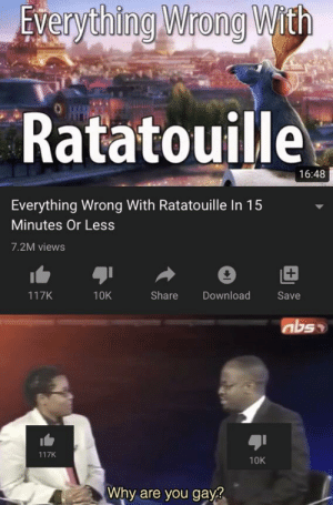 Remy is the finest cook ever to live right above Gordon Ramsay: Everything Wrong With  Ratatouille  16:48  Everything Wrong With Ratatouille In 15  Minutes Or Less  7.2M views  +1  117K  Share  Download  10K  Save  117K  10K  Why are you gay? Remy is the finest cook ever to live right above Gordon Ramsay