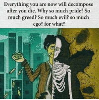 Memes, Greed, and 🤖: Everything you are now will decompose  after you die. Why so much pride? So  much greed? So much evil? so much  ego? for what? https://t.co/rPlzzF712R